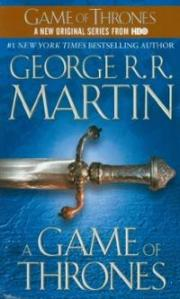 Sword hilt against blue background, HBO logo above